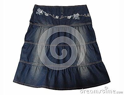Blue jeans skirt.