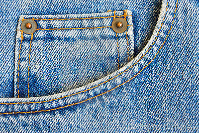 Blue jeans trousers pocket as background