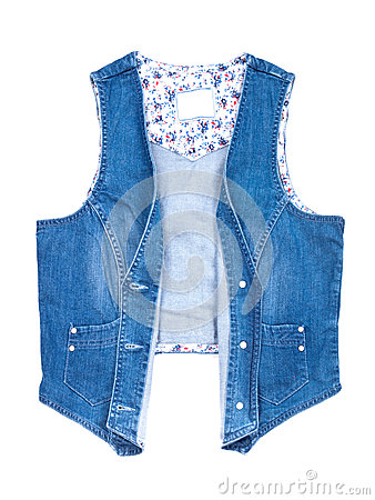Blue jeans vest isolated