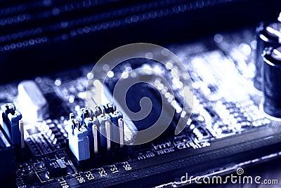 Blue jumper in motherboard