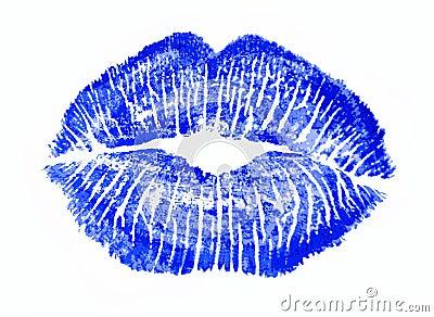 Blue kiss lips lip print