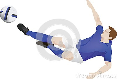Blue kit soccer player kick