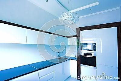 Blue kitchen interior corner