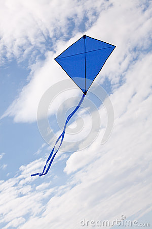 Blue kite flying