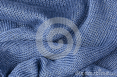 Blue knitted pullover background
