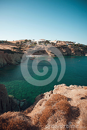 Blue lagoon on Crete with beach, Greece