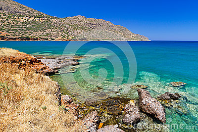 Blue lagoon of Elounda Bay on Crete