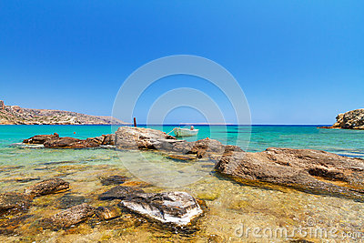 Blue lagoon of Vai beach on Crete