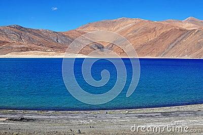 Blue lake in himalayan montain