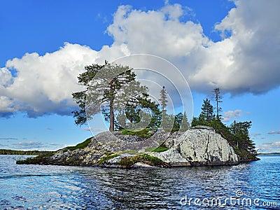 Blue lake island