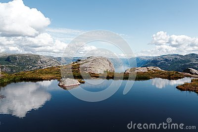 Blue Lake Reflecting Clouds In Mountain Free Public Domain Cc0 Image