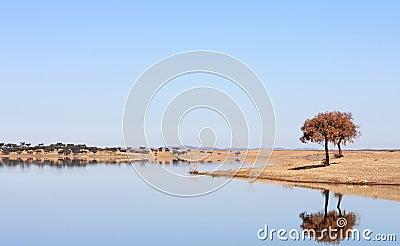 Blue lake in Vale Do Guadiana, Alentejo, Portugal