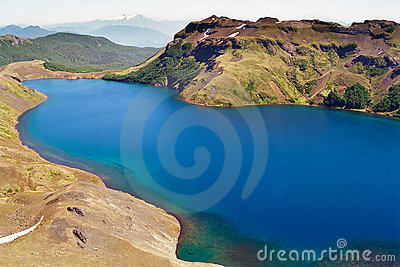 Blue Lake in volcanic terrain, Chile