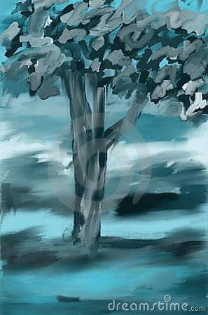 Blue landscape tree painting