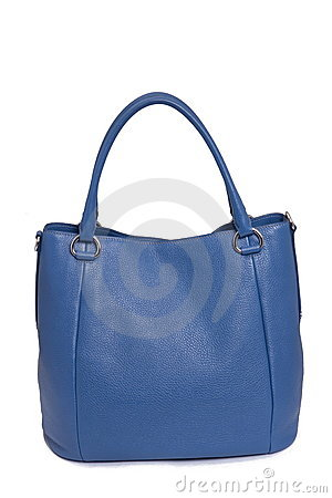 Blue leather woman bag