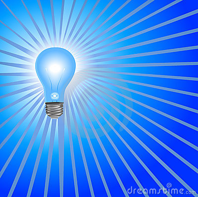 Blue Light Bulb Background Rays