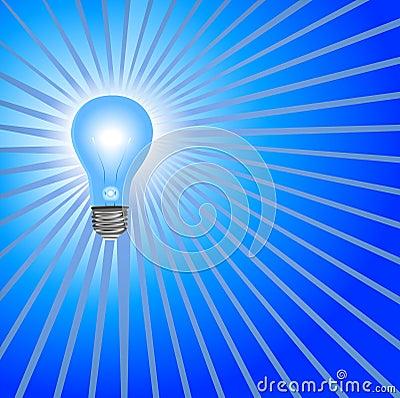 Blue Light Bulb Background Rays