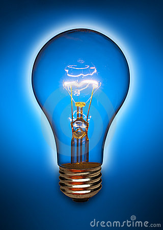 Blue light bulb with glow
