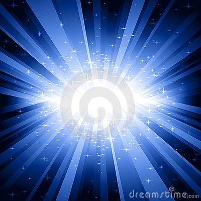 Free Blue Light Burst With Stars Royalty Free Stock Image - 10545896