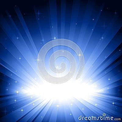 Free Blue Light Burst With Stars Stock Photo - 10545910