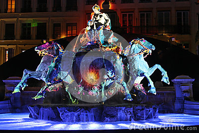 Blue light on Fountain in Place des Terreaux Editorial Photo