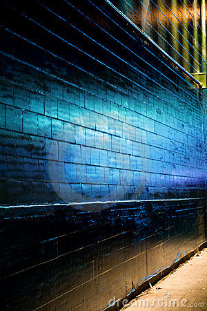 Blue light reflect on Brick Wall