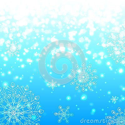 Blue lights and snowflakes background