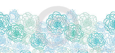 Blue line art flowers horizontal seamless pattern