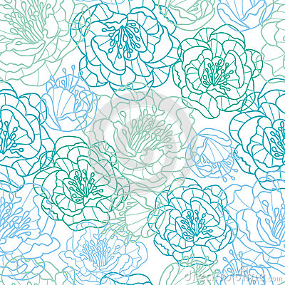 Blue line art flowers seamless pattern background