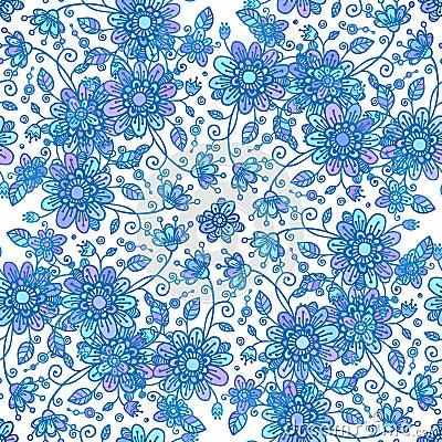 Blue line drawn flowers seamless pattern