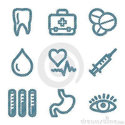Blue line medicine contour ico