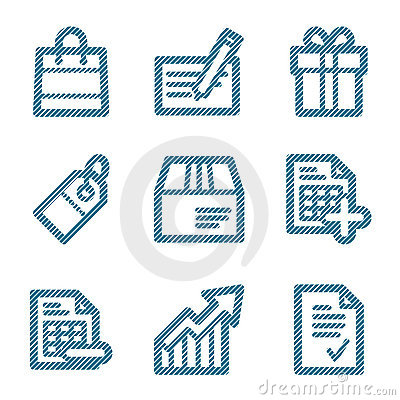 Blue line shopping icons