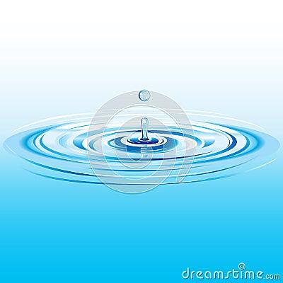 Blue liquid drop falling in water