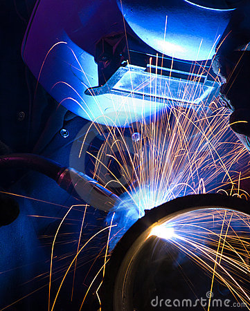 Free Blue Lit MIG Welder Close Stock Photos - 17363933