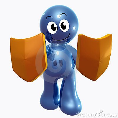 Blue little funny icon with anti virus shield
