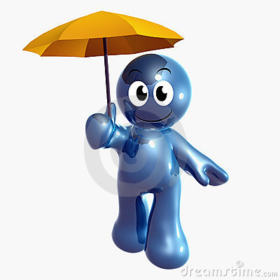 Blue little funny icon with insurance umbrella