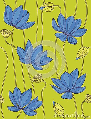 Blue lotus - floral seamless pattern