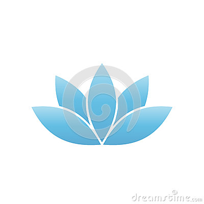 Blue lotus symbol. Spa and wellness theme design element. Vector illustration Vector Illustration