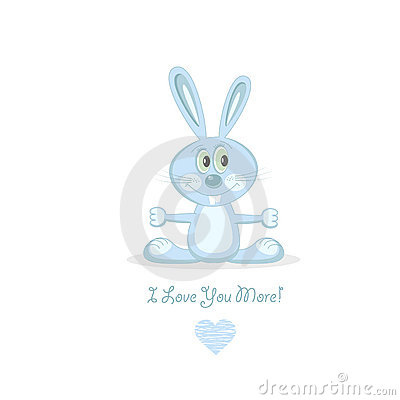 Blue love rabbit, vector illustration