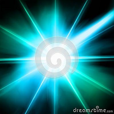 Blue luminous star. Lens flare effect. Vector