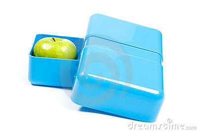 Blue lunchbox with a green apple