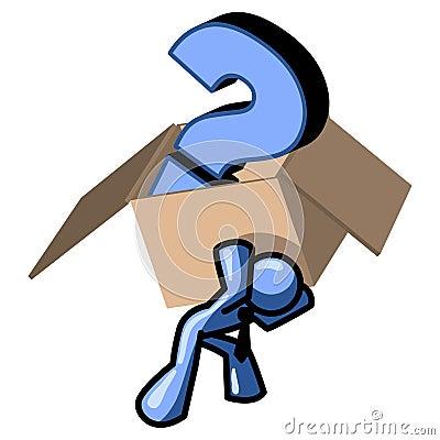 Blue man carrying box