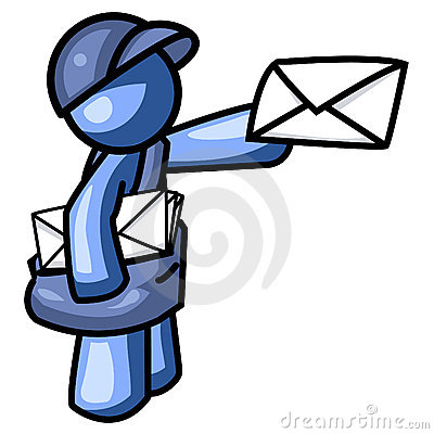 Blue man delivering mail logo