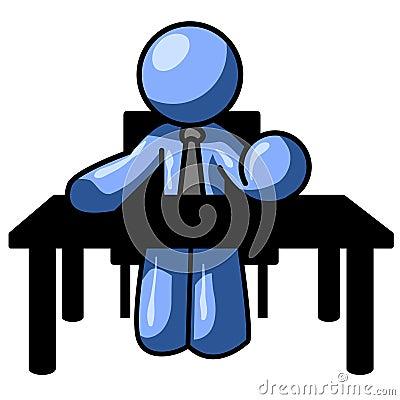Blue man at desk