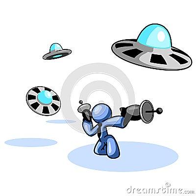 Blue man fighting UFOs