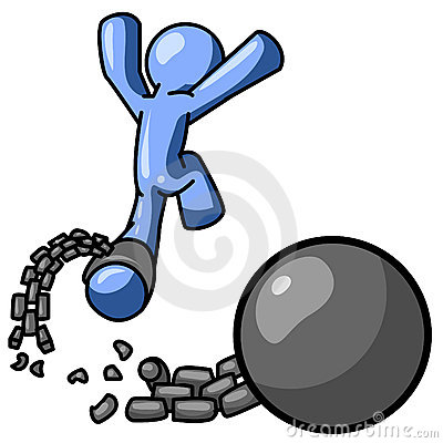 Free Blue Man Free From Ball Chain Royalty Free Stock Photo - 3307065