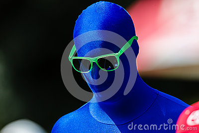 Blue Man Green Glasses Advertising Editorial Stock Photo
