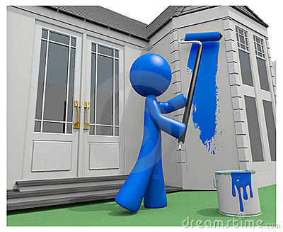Blue Man Painting His House with Paint Roller