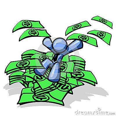 Blue man sitting in cash