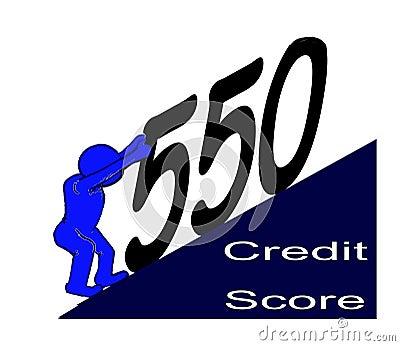 Blue Man Struggling & Pushing Up His Credit Score